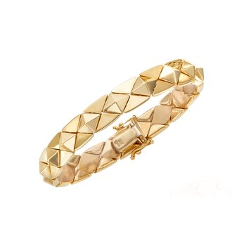 14K Gold Polished Pyramid Bracelet