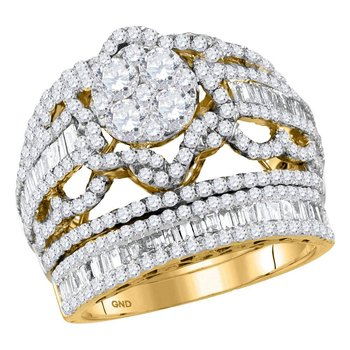 14kt Yellow Gold Womens Round Diamond Bridal Wedding Engagement Ring Band Set 2-1/2 Cttw