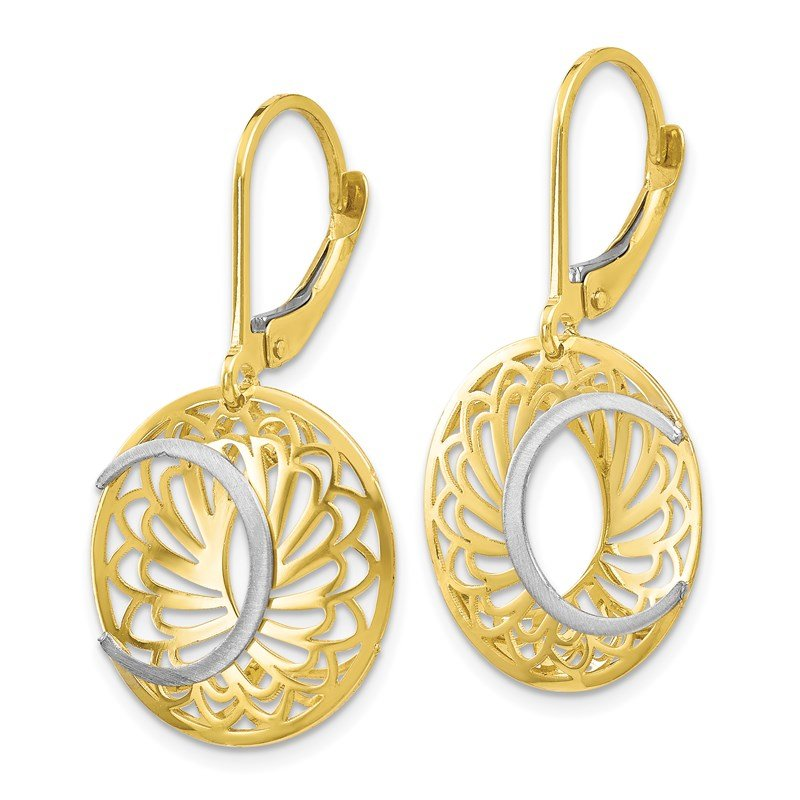 Leslie's Leslie's 10K Two-tone Polished and Satin Leverback Earrings