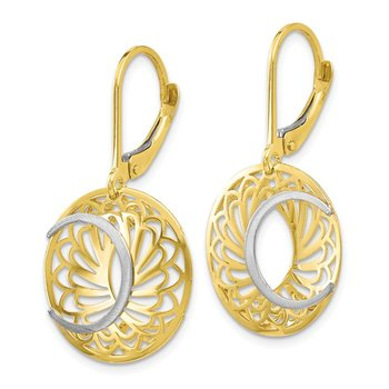 Leslie's 10K Two-tone Polished and Satin Leverback Earrings