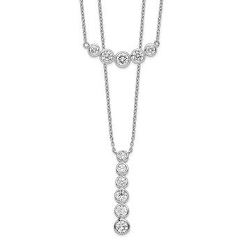 Sterling Silver Rhodium-plated Double Strand CZ Necklace