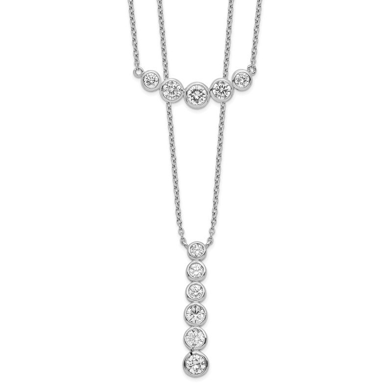 Quality Gold Sterling Silver Rhodium-plated Double Strand CZ Necklace