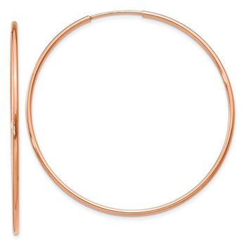 14k Rose Gold 1.2mm Polished Endless Hoop Earrings