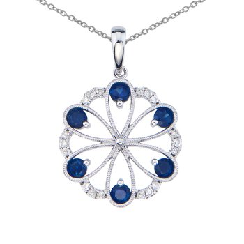 14k White Gold Sapphire and Diamond Flower Pendant