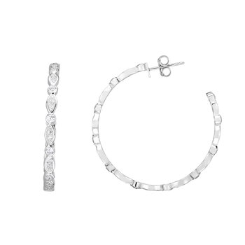 Silver 35x3mm Marquise & Round CZ C Hoops
