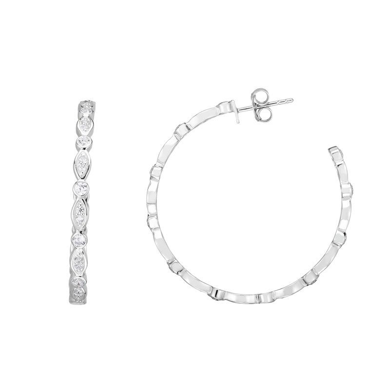 Royal Chain Silver 35x3mm Marquise & Round CZ C Hoops