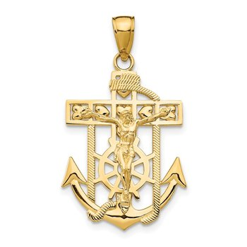 14K Polished Textured Mini Mariners Crucifix Pendant