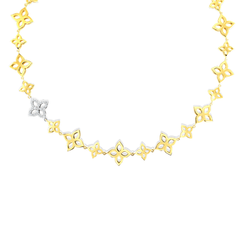 18K GOLD & DIA FLOWER OUTLINE ALTERNATING SM & MED COLLAR