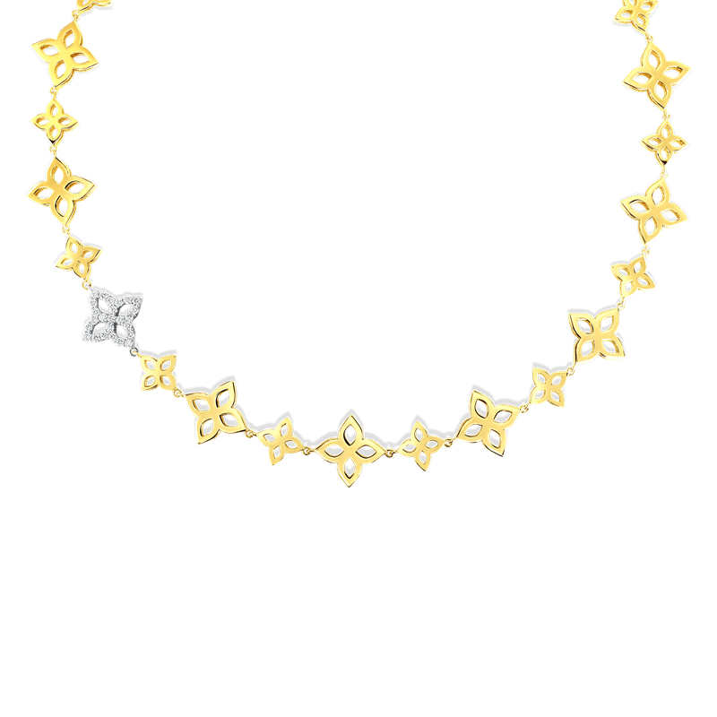 Roberto Coin 18K Gold & Dia Flower Outline Alternating Sm & Med Collar