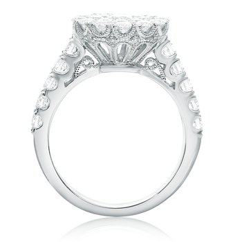 White Diamond Cluster Ring