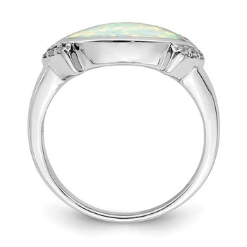 Sterling Silver Rhodium-plated Marquise Lab created Opal & CZ Ring