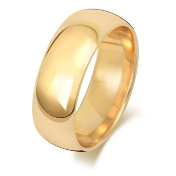 18Ct Yellow Gold 7mm Traditional Court Wedding Ring