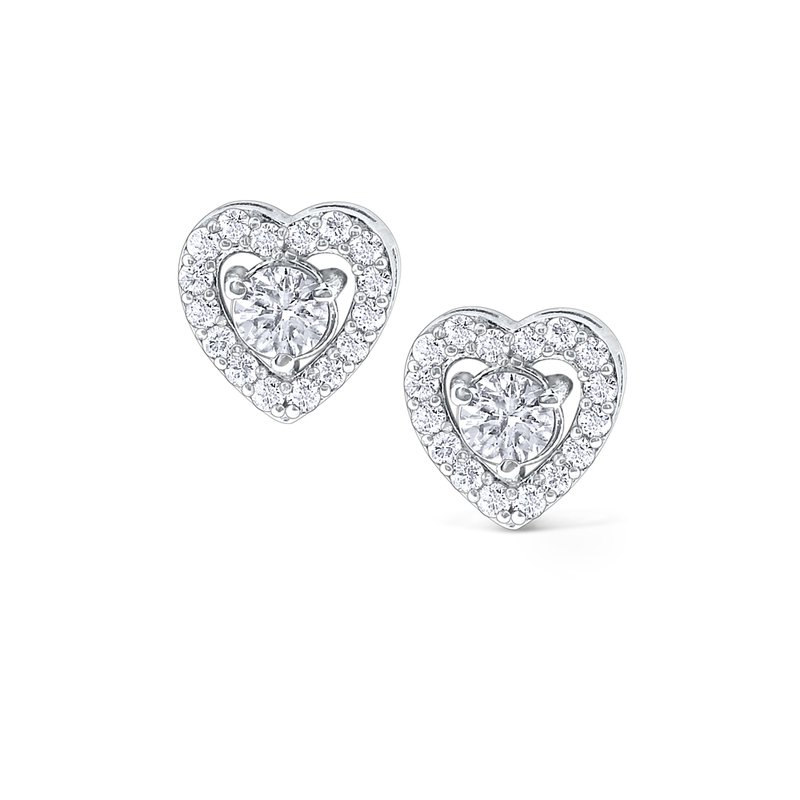 KC Designs 14K Gold and Diamond Heart Studs
