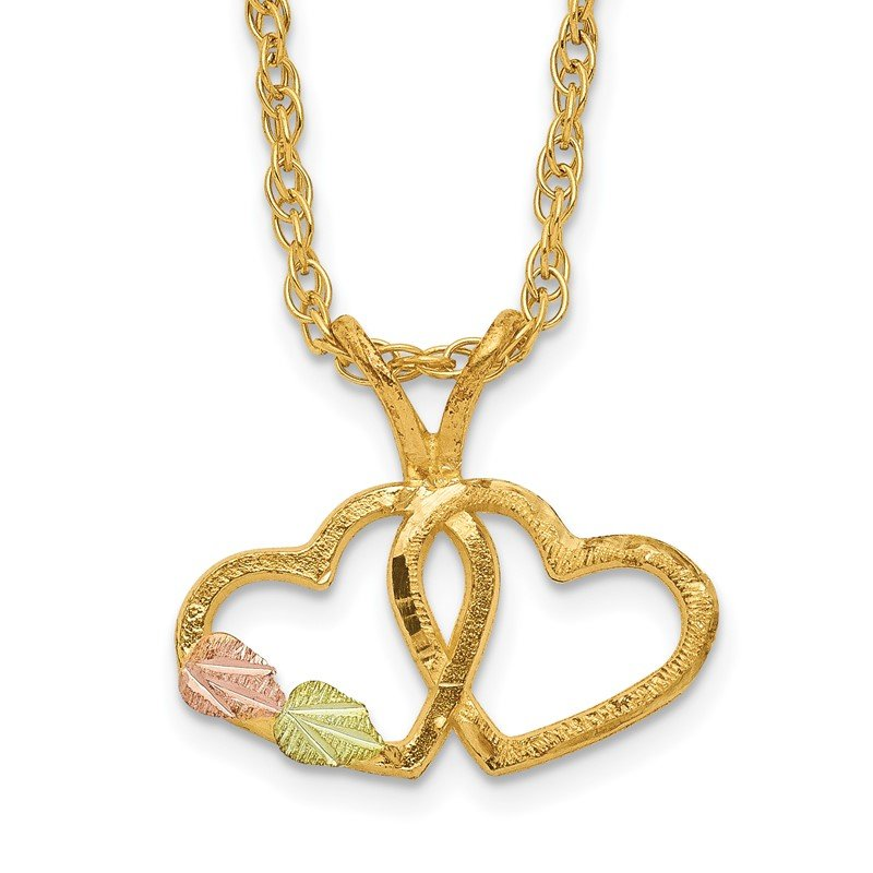 Quality Gold 10k Tri-Color Black Hills Gold Double Heart Necklace
