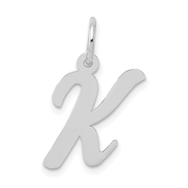 JC Sipe Essentials 14k White Gold Medium Script Letter K Initial Charm