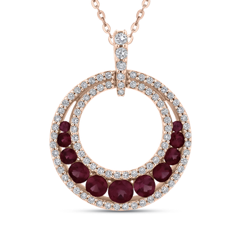 1/3 Ct Diamond with 1 Ct Ruby Circle Pendant with Chain