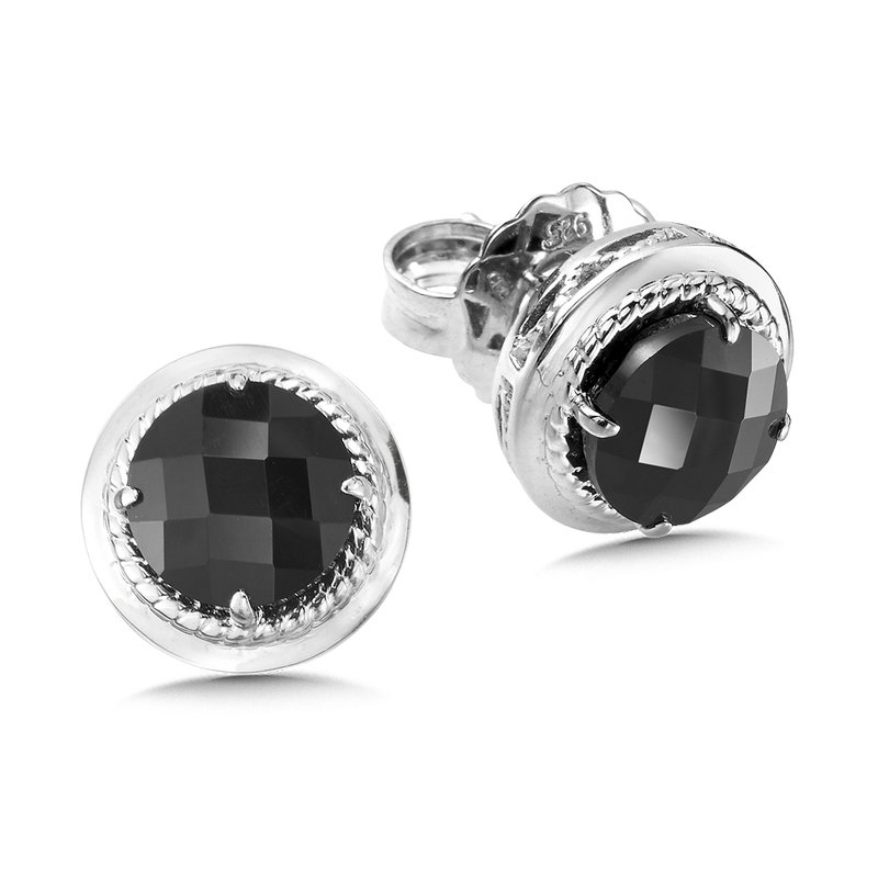 Colore SG Sterling Silver Onyx Stud Earrings