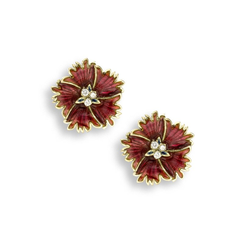 Nicole Barr Designs Red Sweetness Flower Stud Earrings.18K -Diamonds