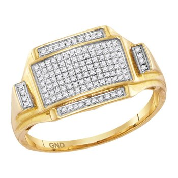 10kt Yellow Gold Mens Round Pave-set Diamond Rectangle Cluster Ring 1/4 Cttw