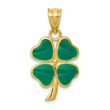 14k Enameled Four Leaf Clover Pendant