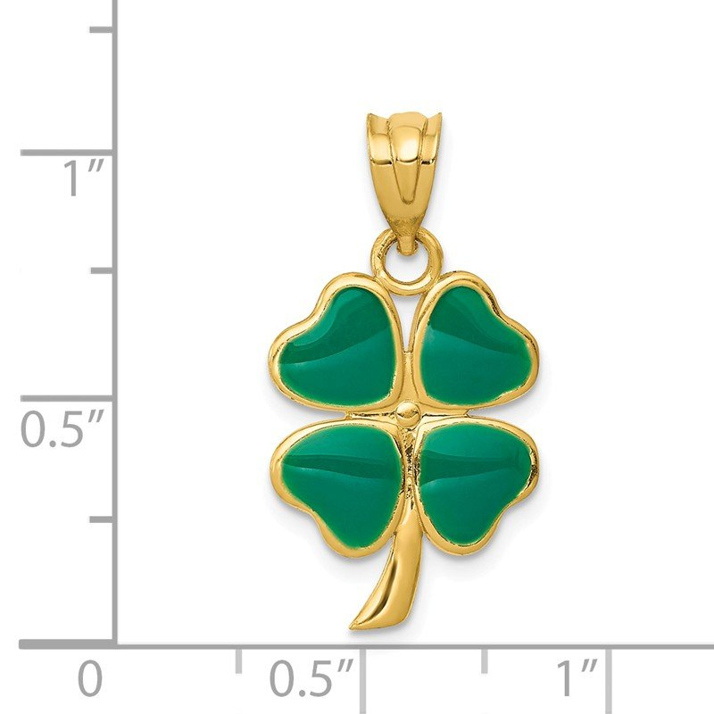 Quality Gold 14k Enameled Four Leaf Clover Pendant
