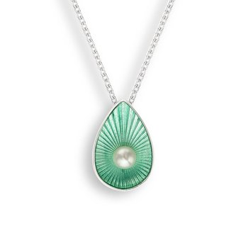 Green Teardrop Necklace.Sterling Silver-Freshwater Pearl