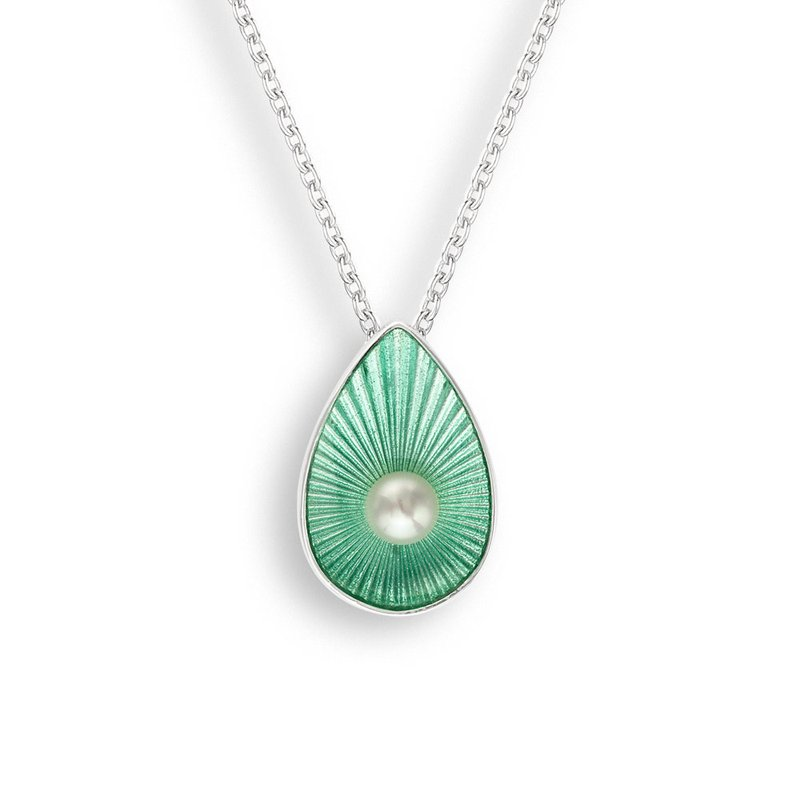 Nicole Barr Designs Green Teardrop Necklace.Sterling Silver-Freshwater Pearl