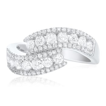 White Diamond Overlapping Ring