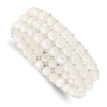 6-7mm Button FWC Pearl & Glass Beaded 3-row Stretch Bracelet