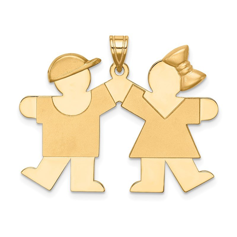 Quality Gold 14k Solid Engravable Boy on Left and Girl on Right Charm