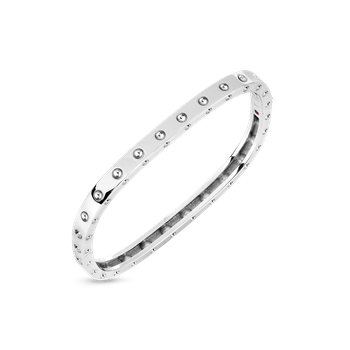 1 Row Square Bangle &Ndash; 18K White Gold, M