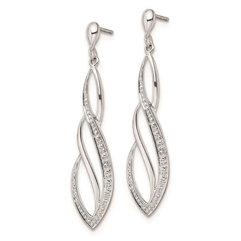 Sterling Silver Rhodium Plated Diamond Swirl Post Dangle Earrings