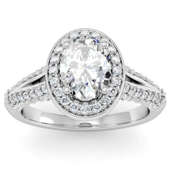 Oval Diamond Halo Engagemant Ring
