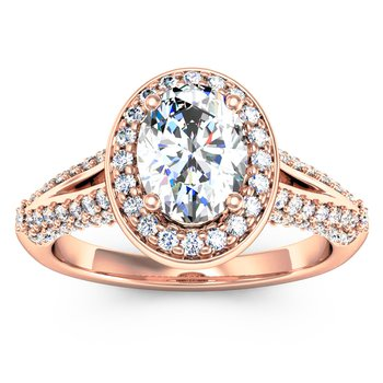 Oval Diamond Halo Engagemant Ring