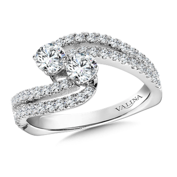 Two-Stone Diamond Engagement Ring Moutning in 14K White Gold (.95 ct. tw.)