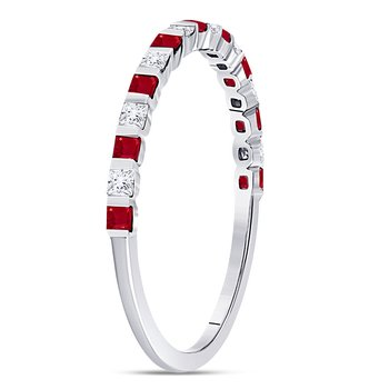 10kt White Gold Womens Princess Ruby Diamond Alternating Stackable Band Ring 3/8 Cttw