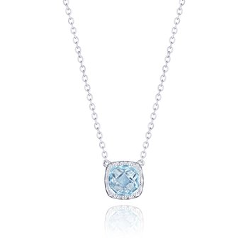 Petite Cushion Gem Necklace with Sky Blue Topaz