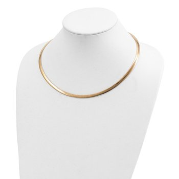 14k Two-tone Lt Reversible 5mm Omega w/extender Necklace