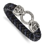 Chisel Stainless Steel Antiqued and Polished Black/Blue Leather 8.25in Bracelet