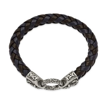 Stainless Steel Antiqued and Polished Black/Blue Leather 8.25in Bracelet
