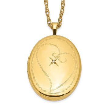 1/20 Gold Filled 26mm Diamond in Heart Oval Locket Necklace