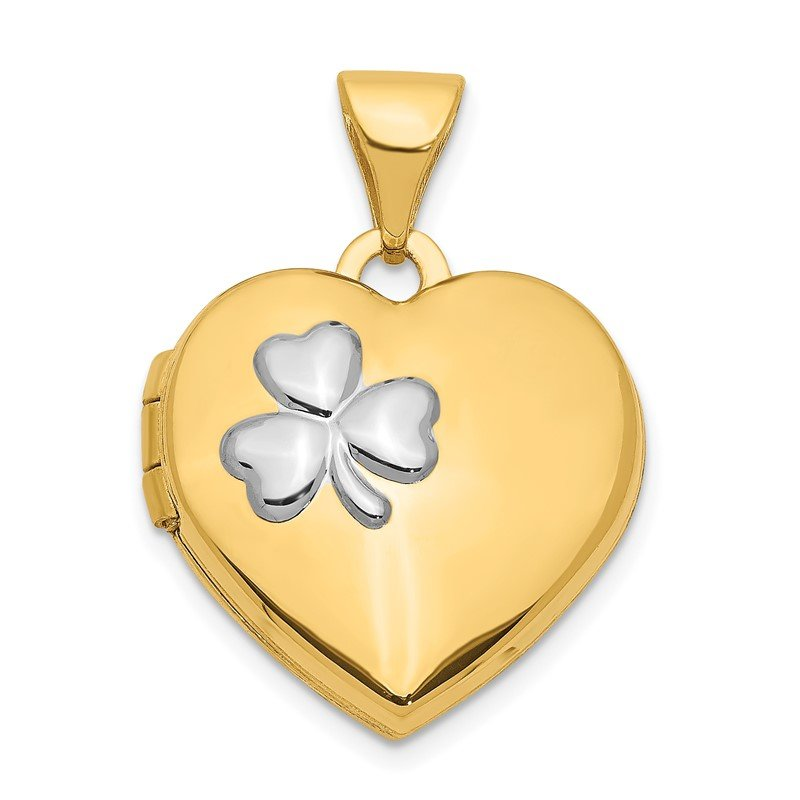 Quality Gold 14k w/Rhodium 15mm Heart Locket