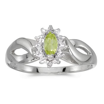 10k White Gold Marquise Peridot And Diamond Ring
