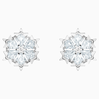 Magic Pierced Earrings, White, Rhodium plated