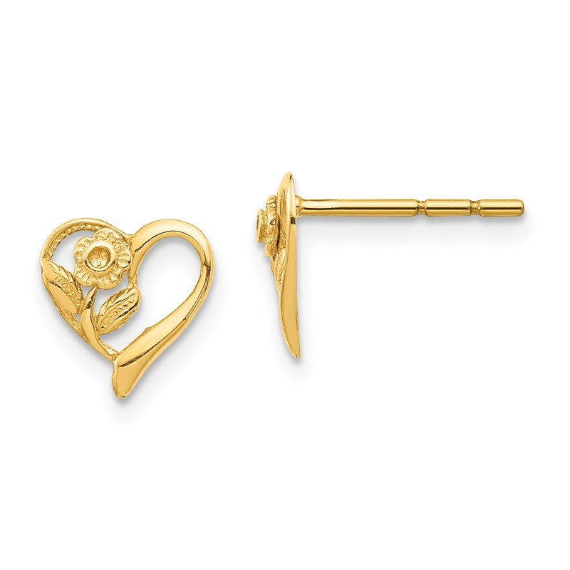 Quality Gold 14K Heart with Flower Post Earrings