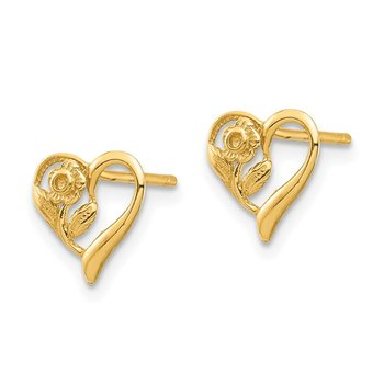 14K Heart with Flower Post Earrings