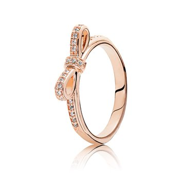 Sparkling Bow Ring, Pandora Rose™ Clear Cz