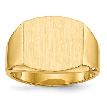 14k 13.5x14.5mm Closed Back Men's Signet Ring