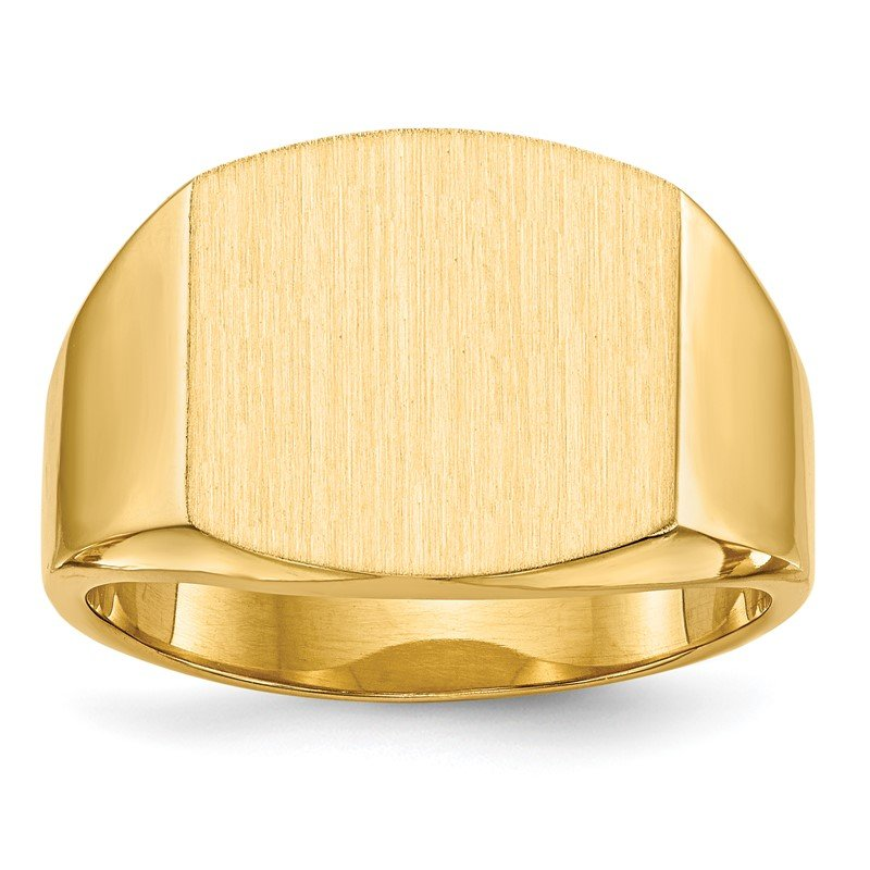 Quality Gold 14k 13.5x14.5mm Closed Back Men's Signet Ring