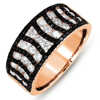 Rose Gold Black & White Diamond Ring